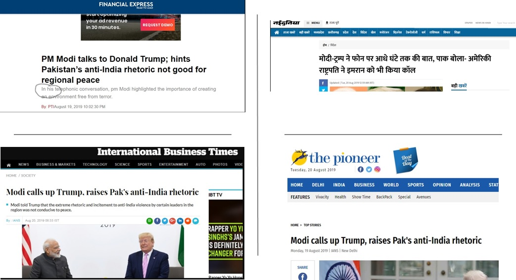 Modi called Trump