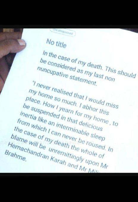 Fathima Latheef, Suicide